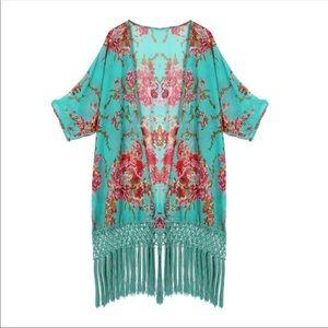 Jackets & Blazers - Ladies Floral Kimono Fringe Cardigan
